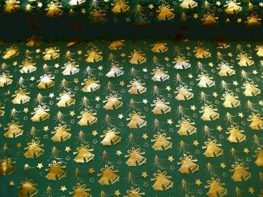 Weihnachtsorganza L8113-211 dunkelgrün mit Weihnachtsglöckchen gold