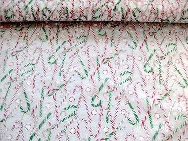 Weihnachtsorganza L8113-213 weiß mit Zuckerstangen und Glitter