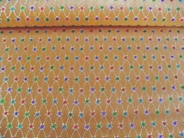 Weihnachtsdekostoff L8113-106 goldbraun mit Glittersternen