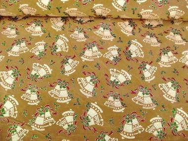 Weihnachtsdekostoff L8113-117 goldbraun mit Weihnachtsglöckchen