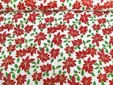 Weihnachtsdekostoff L8113-121 Weihnachtssterne in rot und Goldglitter