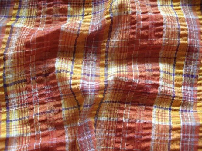 Baumwollstoff kariert Bubble Check QSU2061-036 in ziegelrot/gelb