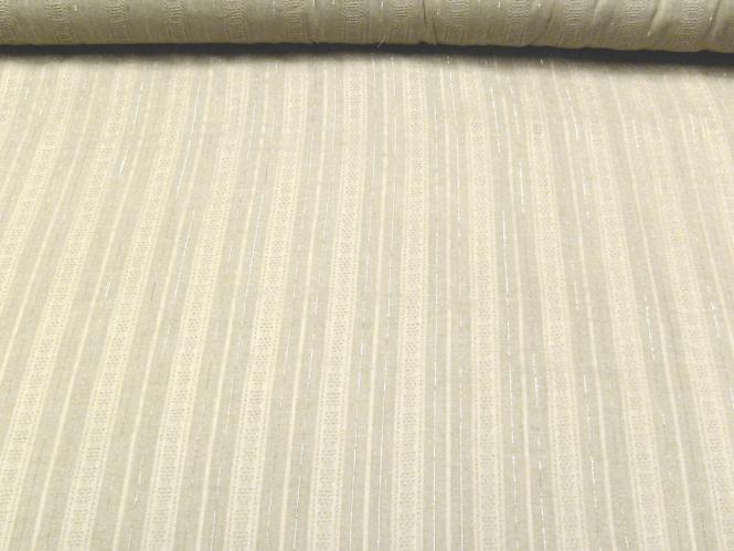 Baumwollstoff 80626 in natur mit Lurexstreifen, bestickt