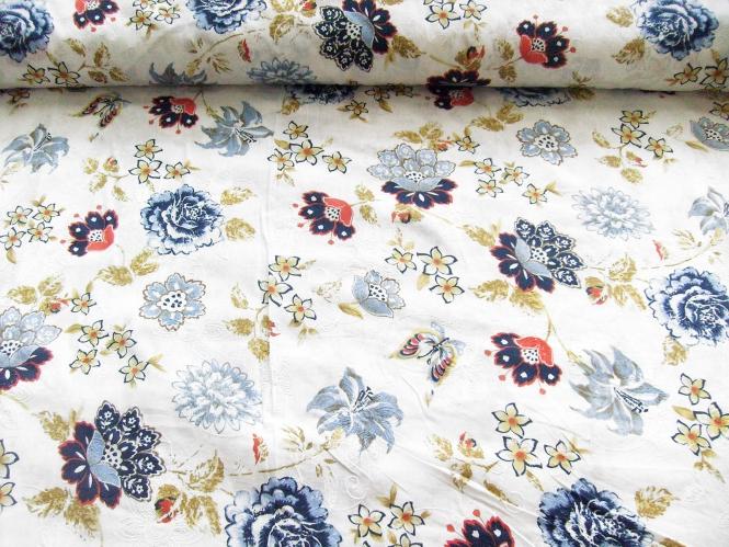 Baumwollstoff 99-021-AL in weiß - bestickt mit Blumendruck blau