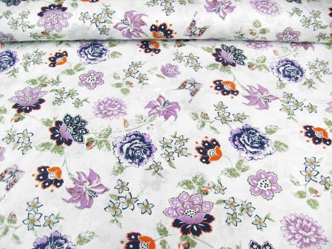 Baumwollstoff 99-022-AL in weiß - bestickt mit Blumendruck lila