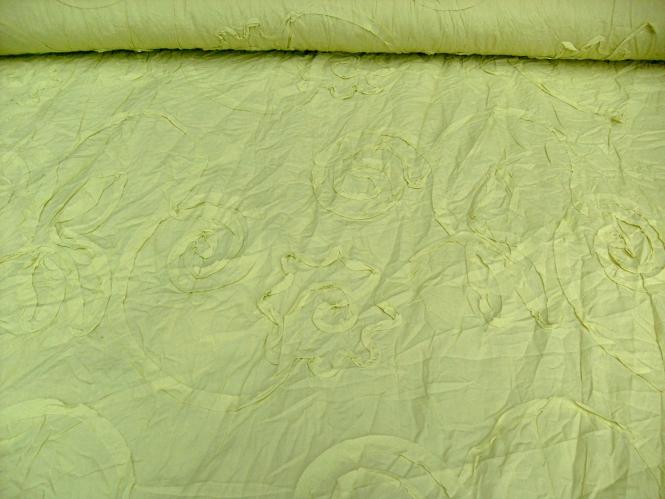 Baumwollstoff Crash SU1017-004, kiwifarben, mit aufgenähten Schleifen
