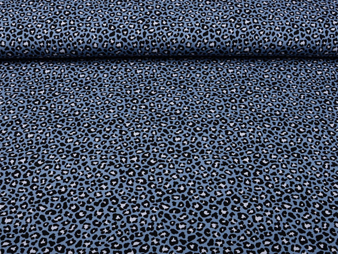 Baumwollstoff Pantherdruck L863-58 in jeansblau