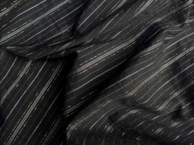 Baumwollstoff PO-092616 in schwarz mit goldenen Lurexstreifen