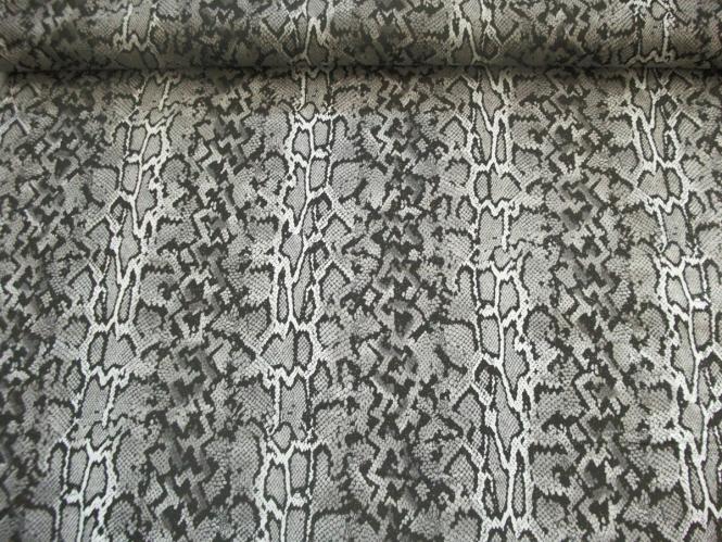 Baumwollstoff Stretch HS6061 Animalprint schwarz mit Goldglimmer