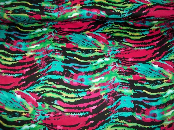 Baumwollstoff Stretch Bora-Bora L543-001 violett-grün-blau