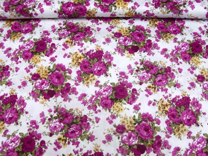 Baumwollstoff Stretch L12000-001 in weiß mit Rosendruck violett