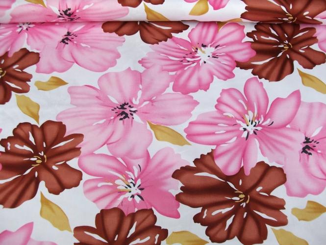 Baumwollstoff Stretch L12384-004 mit Blumendruck rosé/braun