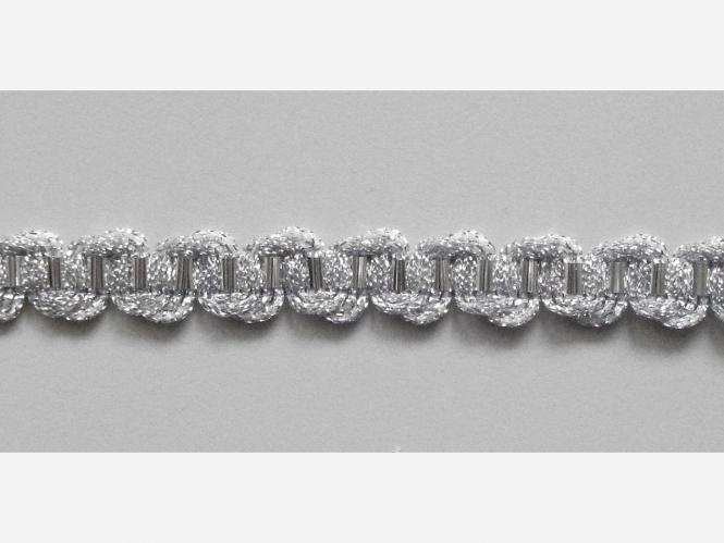 Brokatborte silber Nr. 697811667_s mit Silberfolie durchzogen