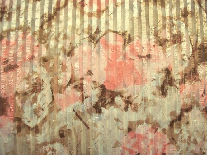 Chiffon 470653 mit Längstreifen natur-lachs-braun und Lurexfäden gold