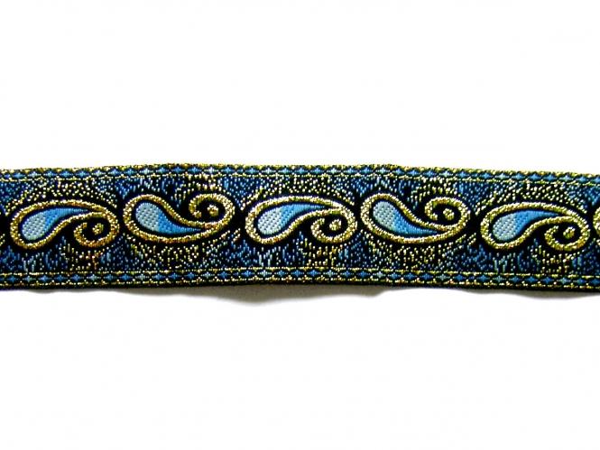Besatzband in jeansblau mit Ornament und Goldglitter