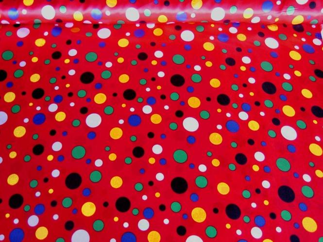 Faschingssatin CA1020-012 in rot, bedruckt mit bunten Punkten