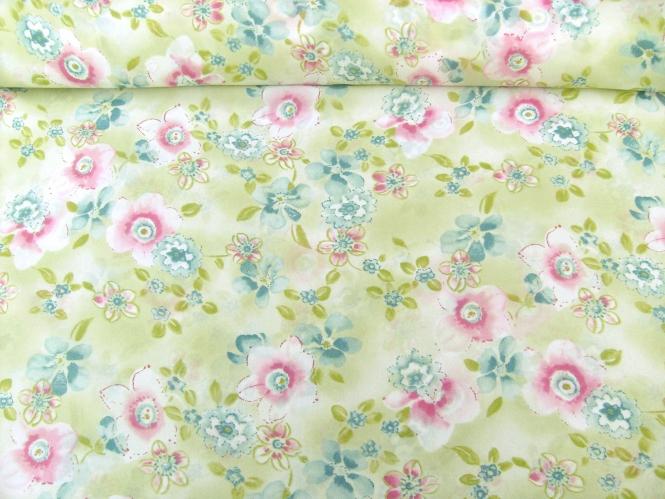 Georgette 801102 in pastellgrün mit Blumendruck