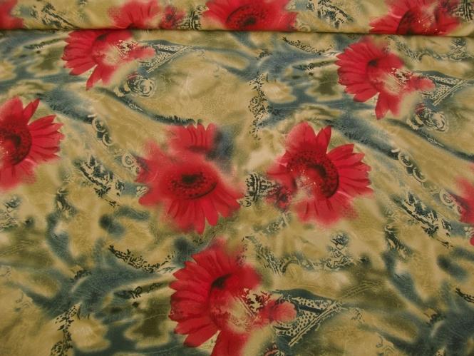 Georgette 806Z999 in beige mit Blumendruck rot