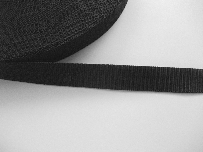 Gurtband 0649-25 schwarz, Stärke ca. 1,5 mm, Breite ca. 25 mm