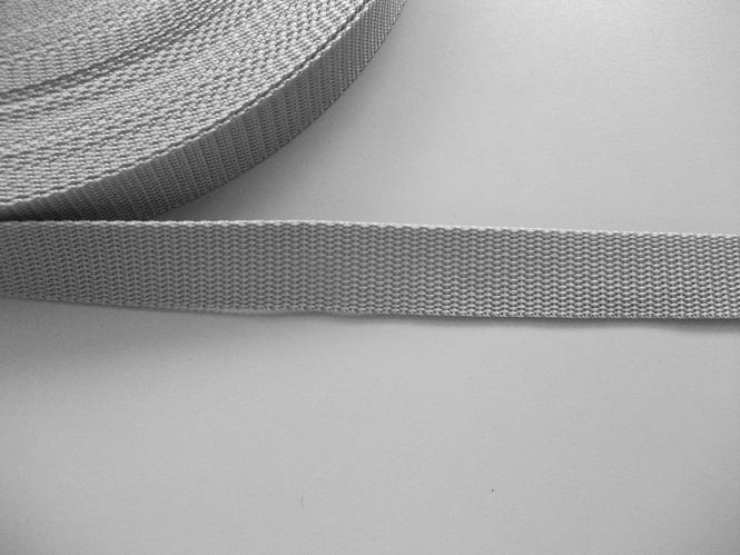 Gurtband 357254-25 silbergrau, Stärke ca. 1,8 mm, Breite ca. 25 mm