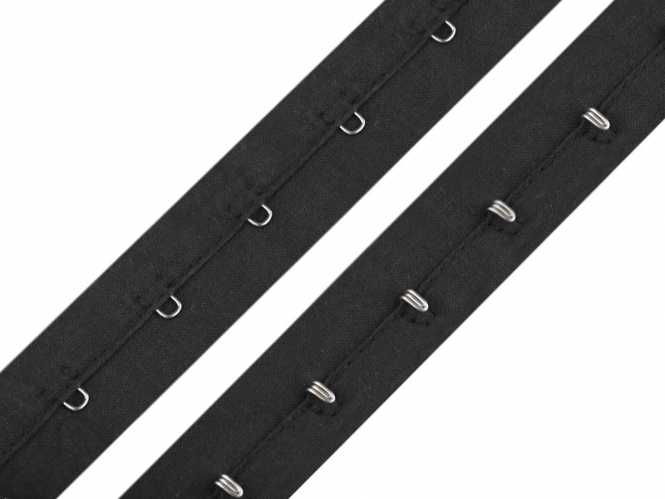 Haken- und Ösenband - Korsettband Nr. 750075-2 in schwarz