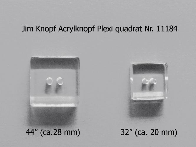 Jim Knopf Acrylknopf Plexi quadrat Nr. 11184-32, Größe 32 (ca. 20 mm)