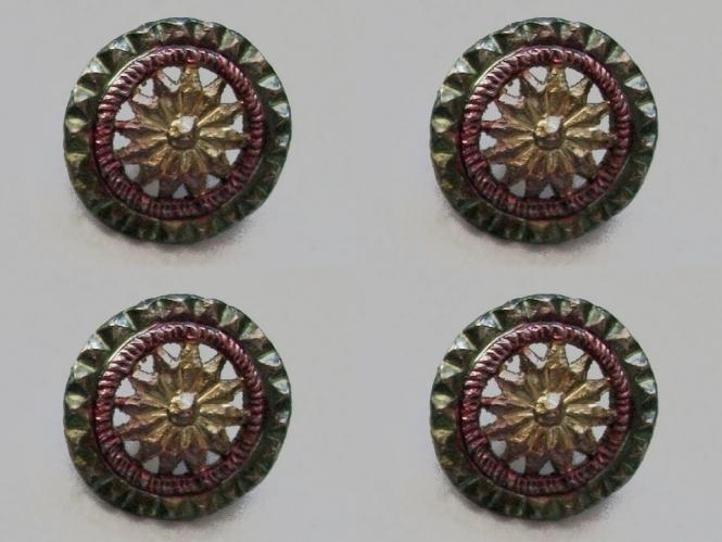 Jim Knopf Trachtenknopf Metall Nr. 12487-04, Farbe 04 rot/erbsgrün