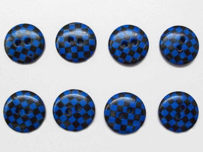 Knopf kariert - Vichyknopf Nr. 6485-28-6, Farbe 6 blau/schwarz