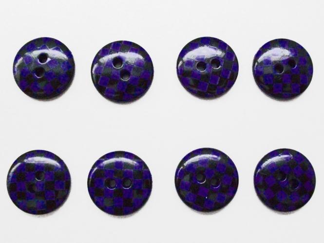 Knopf kariert - Vichyknopf Nr. 6485-28-8, Farbe 8 dunkellila/schwarz