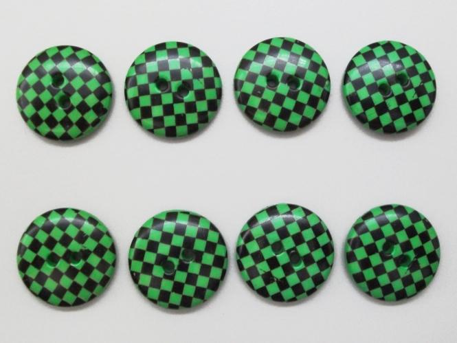Knopf kariert - Vichyknopf Nr. 6485-36-7, Farbe 7 grün/schwarz