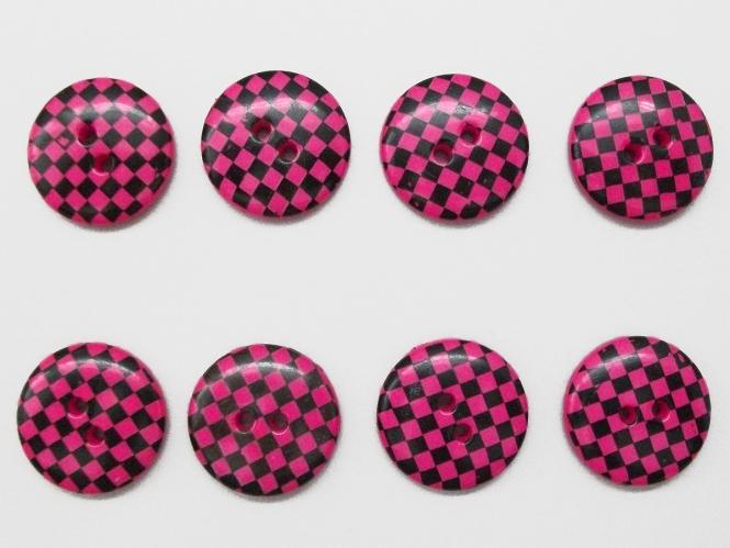 Knopf kariert - Vichyknopf Nr. 6485-36-9, Farbe 9 pink/schwarz
