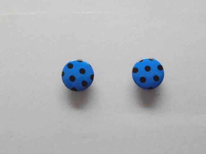 Knopf mit schwarzen Punkten Nr. 6089-28-6, Farbe 6 blau/schwarz