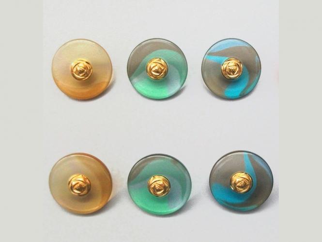 Knopf transparent mit Farbverlauf und Rose gold 71800-34