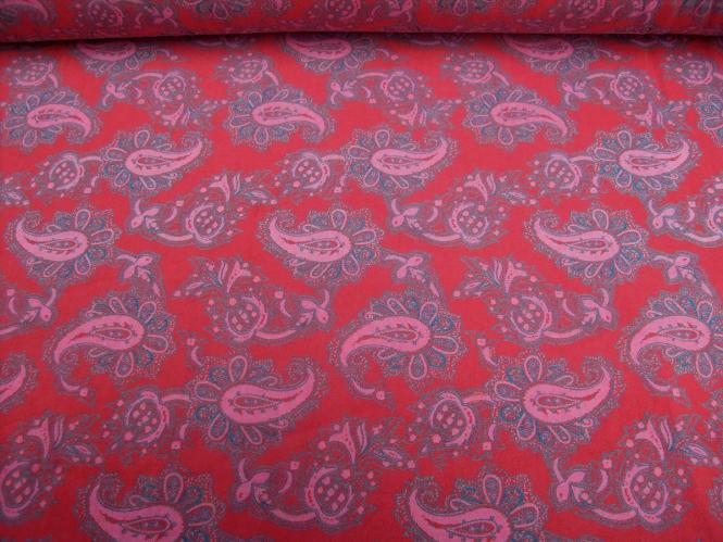Nickistoff Nr. PO-092111-12 in rot mit Paisleydruck