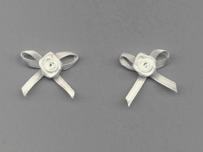 Satinrose mit Schleife S104-000, Farbe creme