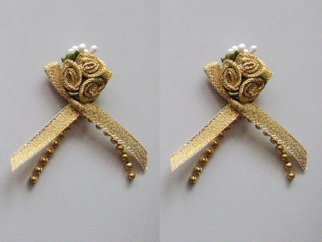 Satinrosen mit Schleife und Perlen JH-M0799g in gold