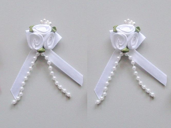 Satinrosen mit Schleife und Perlen JH-M0799w in weiß
