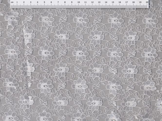 Spitzenstoff L727-23 mit Blumenmuster, Farbe 23 weiß