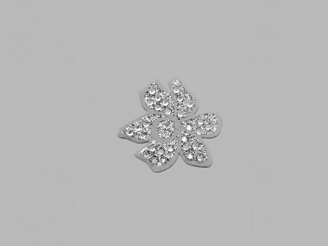 Strass-Bügelmotiv CS037 auf silberner Glitterfolie