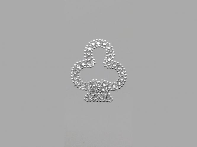 Strass-Bügelmotiv CS082 auf silberner Glitterfolie