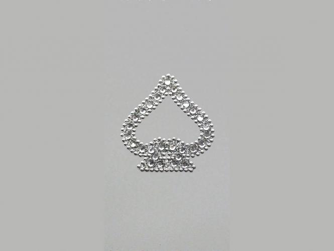 Strass-Bügelmotiv CS084 auf silberner Glitterfolie