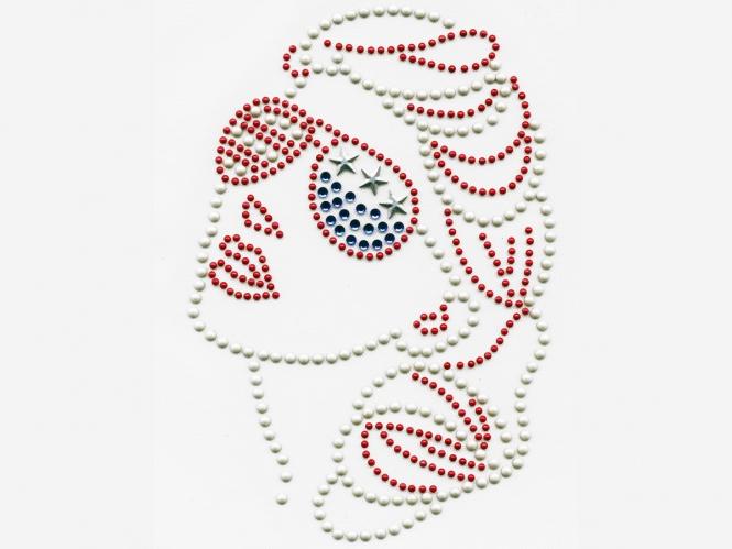 Strass-/Nieten Bügelmotiv YH 1703 - Girl America