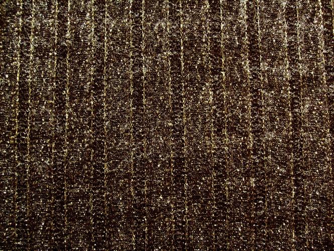 Strickstoff HR10959-B in dunkelbraun mit Lurex gold