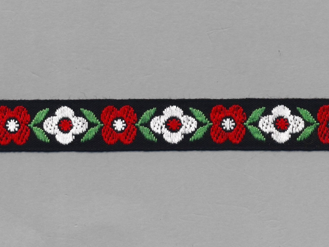 Trachtenband in schwarz GA-85953 mit Blumen bestickt