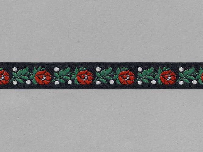 Trachtenband 16066-02 in schwarz mit Rosen in rot bestickt