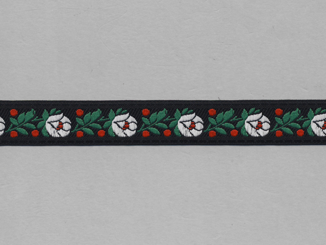 Trachtenband 16066-00 in schwarz mit Rosen in weiß bestickt