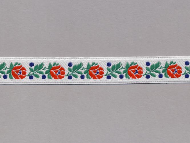 Trachtenband 16066-25 in weiß mit Rosen in rot bestickt