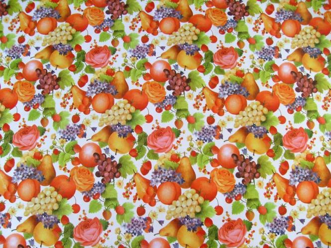 Wachstuch KT689 - Motiv Obst und Rosen