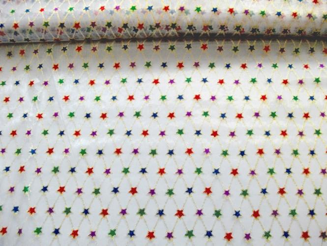 Weihnachtsorganza L8113-203 weiß mit mit bunten Glittersternen