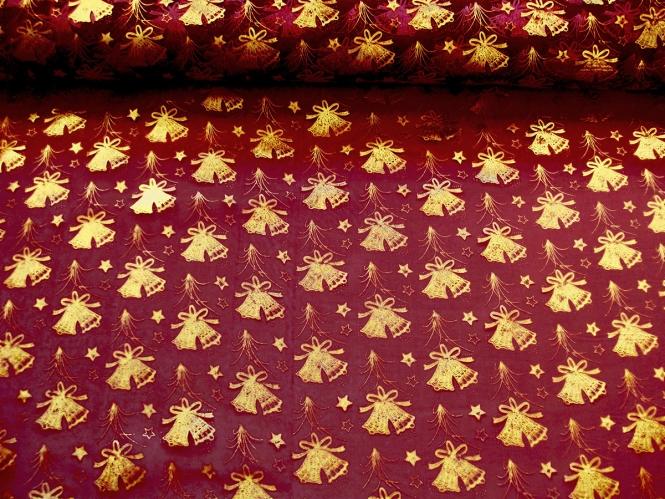 Weihnachtsorganza L8113-207 bordeaux mit Weihnachtsglöckchen gold